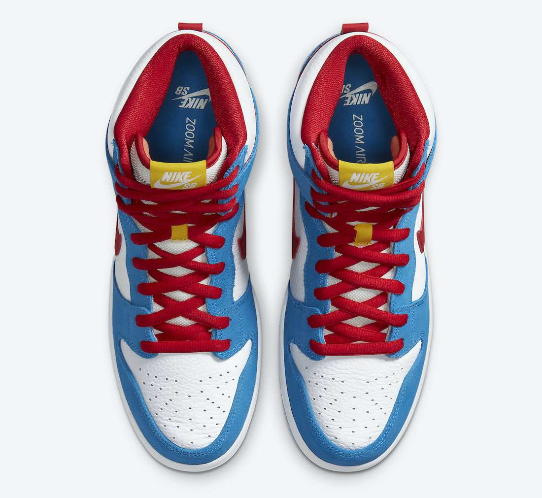 "nike sb dunk high ""doraemon"" - Nike SB Dunk High Doraemon CI2692 400 Release Date 3 - Nike SB Dunk High ""Doraemon"""