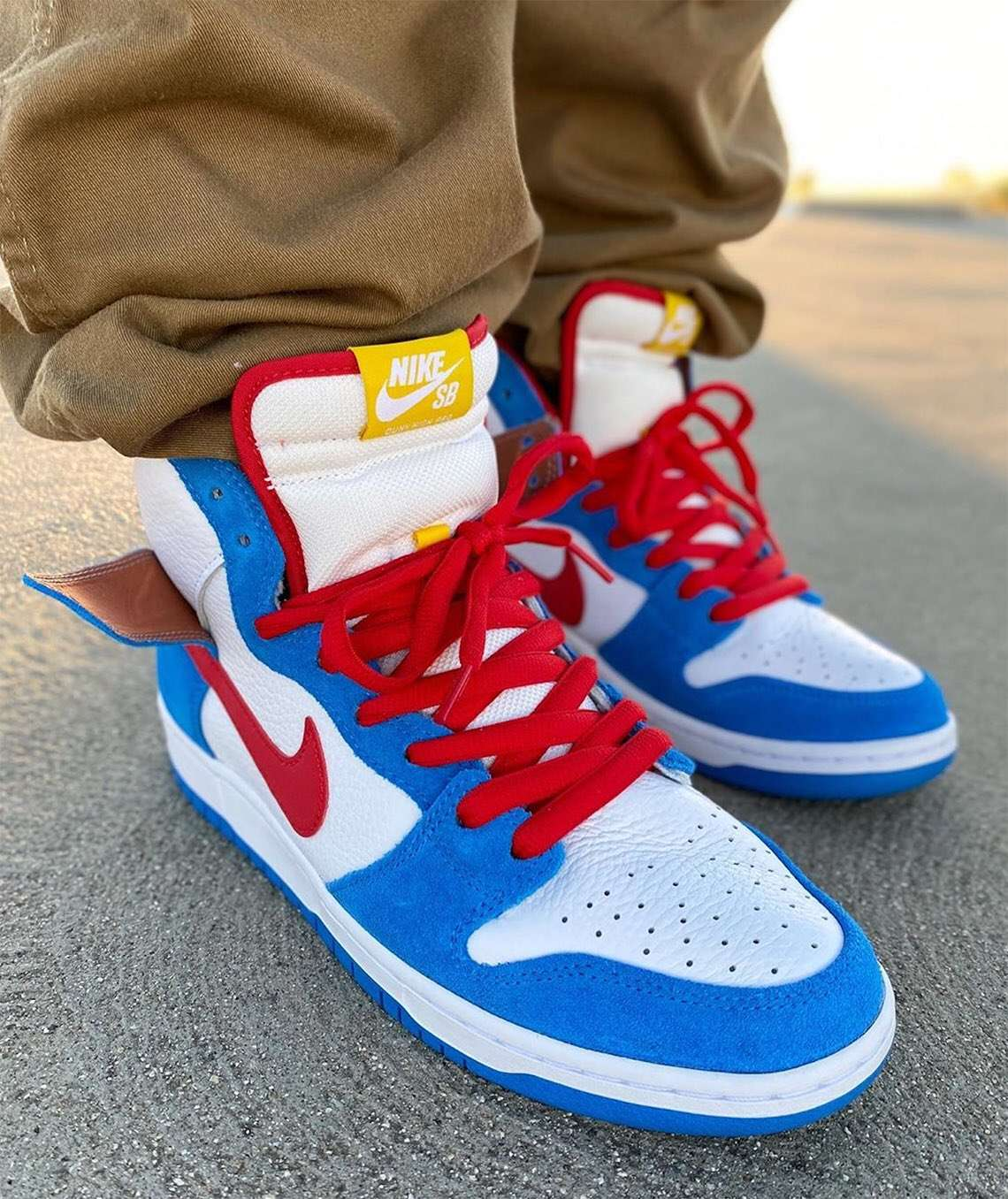 "nike sb dunk high ""doraemon"" - Nike SB Dunk High Doraemon CI2692 400 Release Date On Foot - Nike SB Dunk High ""Doraemon"""